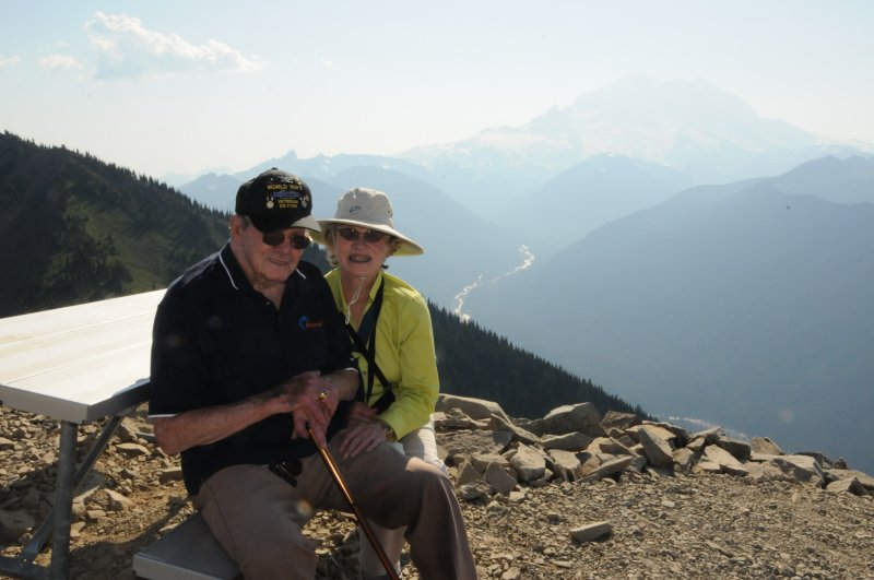 Fred and Mary hiking on Crystal Mountain