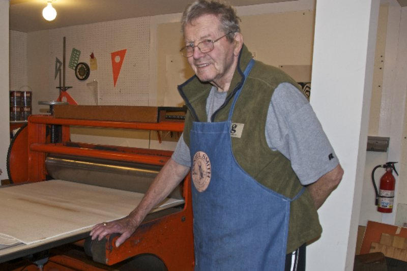 Fred at his etching press